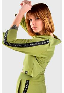 Blusa Cropped Moletom Manga Longa Brohood Verde Claro