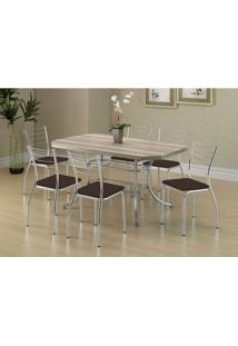 Mesa 1507 Nogueira Cromada Com 6 Cadeiras 1700 Cacau Carraro