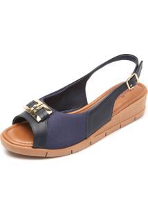 Sandália Couro Usaflex Soft Slim Azul