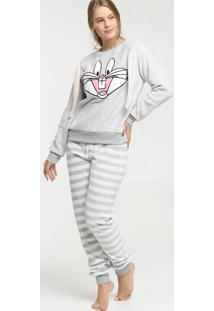Pijama Feminino Chenille Pernalonga Looney Tunes