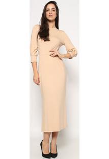 Vestido MãDi Liso Com Recorte Vazado- Bege- Colccicolcci