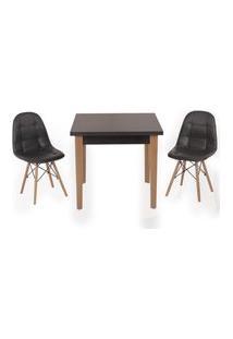 Conjunto Mesa De Jantar Luiza 80Cm Preta Com 2 Cadeiras Botonê - Preto