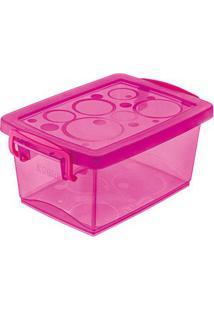 Caixa Organizadora Com Trava 4 Litros Pink Ordene