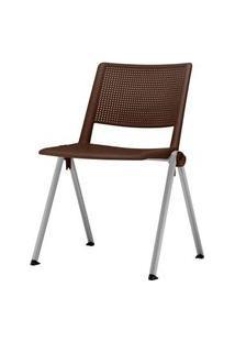 Cadeira Up Assento Marrom Base Fixa Cinza - 54331 Marrom