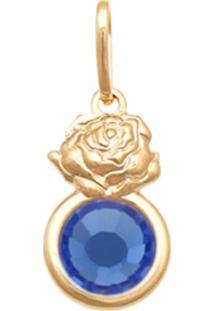 Pingente Prata Mil Rosa Com Pedra Chaton Azul - Dourado - Feminino - Dafiti