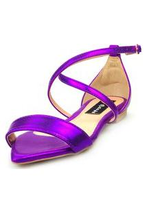 Sandalia Traseiro Love Shoes Rasteira Bico Folha Delicada Metalizado Roxo