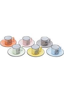 Jogo De Xícaras De Café 12Pçs Porcelana Coloridas Words 80Ml Bon Gourmet