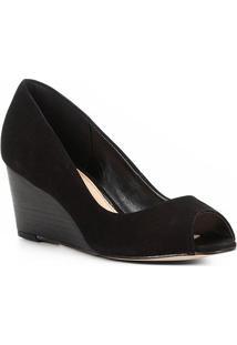 Peep Toe Couro Shoestock Anabela Básico Fachete - Feminino-Preto