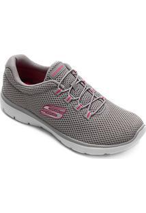 Tênis Skechers Summits-Quick Lapse Feminino - Feminino-Cinza+Pink