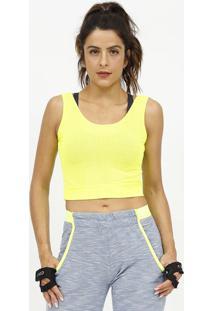 Blusa Cropped Com Micro Furos- Amarelo Neon- Patrapatra