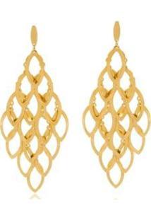 Brinco Le Diamond Cascata Losangos Vazados - Feminino-Dourado