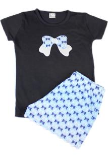 Pijama Laço Santo Sono Azul Marinho