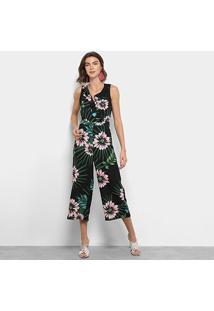 Macacão Longo Lily Fashion Regata Floral - Feminino-Preto