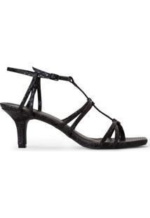 Sandália Salto Baixo Fino T-Strap