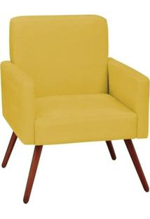 Poltrona Decorativa Mari Pés Palito Amarela - Condor Decor