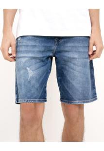 Bermuda Jeans Com Puídos