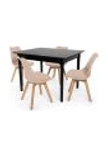 Conjunto Mesa De Jantar Robust 110X90 Preta Com 4 Cadeiras Eames Wood Leda - Nude