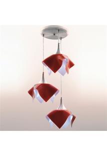Pendente Tulipa Color Para 3 Lâmpadas Vermelho