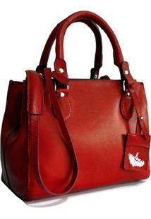 Bolsa Line Store Leather Clássica Couro Vermelho. - Kanui