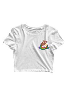 Blusa Blusinha Cropped Tshirt Camiseta Feminina Unidos Lgbt Mini Branco