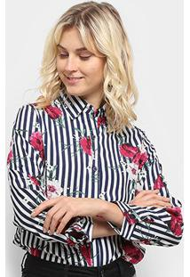 Camisa Listrada Sofia Fashion Floral Feminina - Feminino-Azul+Branco