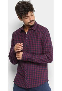 Camisa Xadrez Manga Longa Forum Smart Masculina - Masculino-Vermelho+Azul
