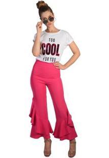 Calça Flare Babados Pop Me Feminino - Feminino-Pink
