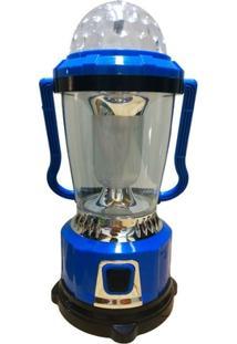 Luminária Lampião Com Lanterna E Globo De Luzes Led Giratório Recarregavel Hs-1532 - Unissex