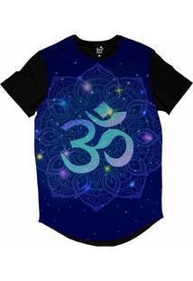 Camiseta Longline Long Beach Ohm Mandala Florida Sublimada Azul