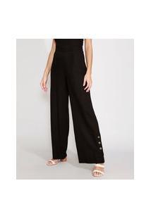 Calça Pantalona Com Linho E Fenda Cintura Alta Preta