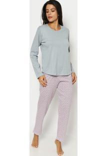 Pijama Geométrico- Cinza & Branco- Zulaizulai