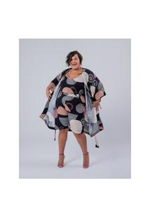 Bermuda Almaria Plus Size Miss Taylor Estampada Preto