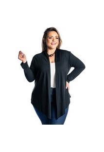 Cardigan Kimono Plus Size Juquitiba Brasil Preto
