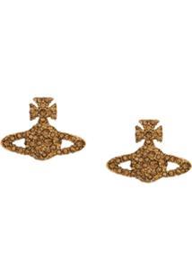 Vivienne Westwood Par De Brincos Com Logo E Aplicações De Strass - Dourado