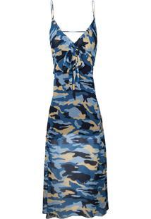 Vestido Le Lis Blanc Midi Beatriz Estampado Feminino (Camuflado Azul Dusk, 48)
