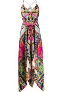 Etro Slip Dress Com Padronagem E Detalhe De Laço - Rosa