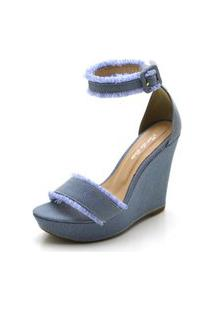 Sandália Anabela Salto Alto Em Tecido Jeans