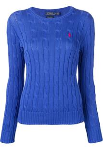 edc7624427536 Polo Ralph Lauren Logo Cable Knit Sweater - Azul