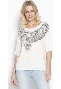 """Camiseta """"Coruja"""" Com Linho- Off White & Preta- Sommsommer"""