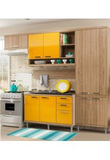Cozinha Compacta 5 Peças 5838-S19- Sicília - Multimóveis - Argila / Amarelo
