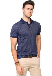 Camisa Polo Malha Tony Menswear Maquinetada De Algodão Azul Marinho