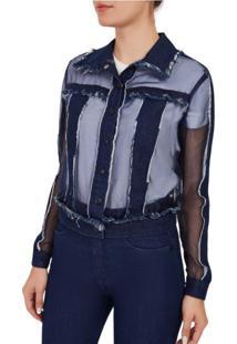 Jaqueta Classica Compose De Tecidos Jeans Azul