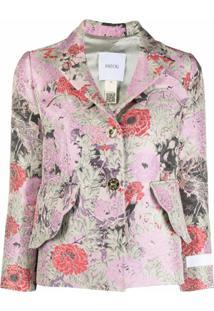 Patou Blazer De Jacquard Com Estampa Floral - Rosa