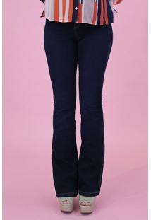 Calça Jeans Pitt Boca De Sino Feminina Azul Escuro - 36