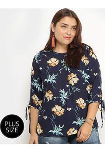 Blusa Lemise Manga Curta Floral Plus Size Feminina - Feminino-Marinho