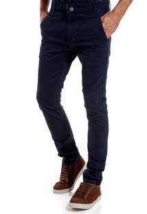 Calça John John Skinny Trancoso Sarja Azul Masculina (Azul Marinho, 46)