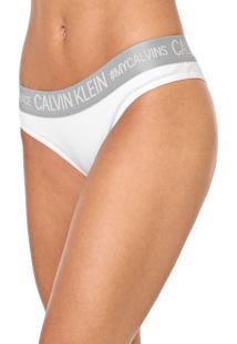 Calcinha Calvin Klein Underwear Tanga Reveillon Branca/Cinza