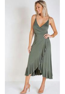 Vestido Verde Transpassado Com Babado