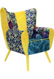 Poltrona Domi Decorativa Com Pés Palito Kora Amarelo Mosaico