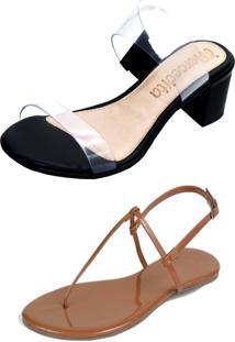 Kit Sandália Tamanco Salto E Rasteira Mercedita Shoes Cristal Com Preto E Verniz Caramelo